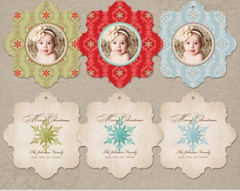 Snowflake Ornament Set   Photo Christmas Holiday Ornament Card   Photoshop Templates   WHCC Boutique E5 Die Cut Card   Instant Download