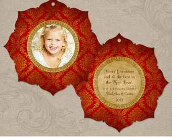 Keepsake Ornament   Photo Christmas Holiday Ornament Card   Photoshop Templates   5x5 WHCC Boutique E4 Die Cut Card   Instant Download