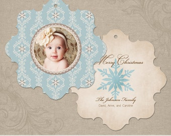 Snowflake Ornament Blue   Photo Christmas Holiday Ornament Card   Elements Photoshop Templates   WHCC Boutique E5 Die Cut Card