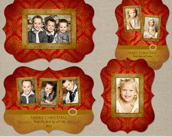 Keepsake   Multi Photo Christmas Holiday Cards Set   Elements Photoshop Templates   5x7 WHCC Boutique Ornate E1 or Millers Luxe Die Cut Card
