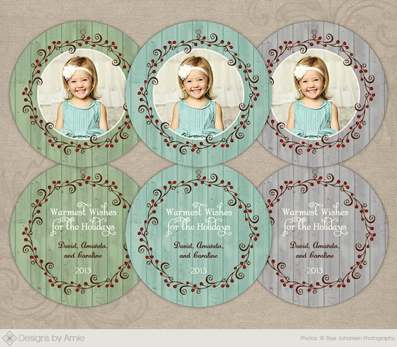 Rustic Wreath Ornaments Photoshop Template Photo Christmas