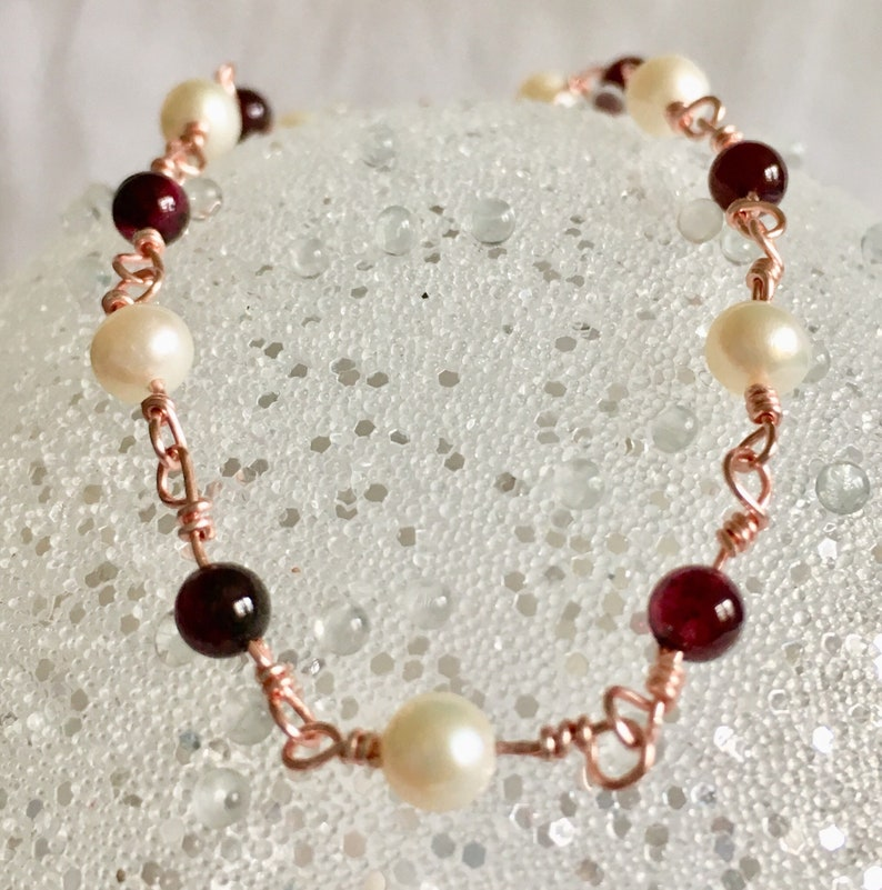Garnets and Freshwater Pearls on Rose Gold Wire Bracelet  7 image 0