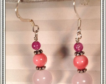Pinky Pinks Earrings -- Pink Chalcedony, Coral Shaded Mother of Pearl, Purple Agate and Sterling Silver