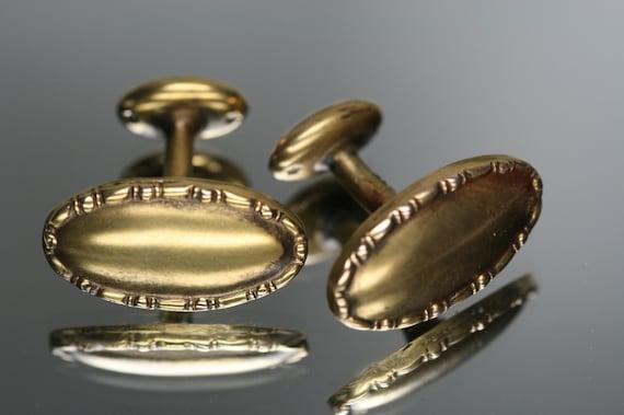 Antique 10k Button-Bean Back Cufflinks