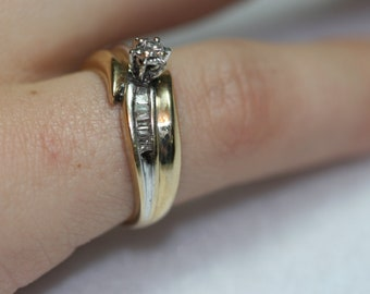 Vintage 10k Yellow Gold and Diamond Ring- Wedding