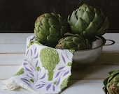 Kitchen Tea Towel - Artichokes & Olives : Michigan Made, USA, flower sack, cotton, absorbent, quality, strong, beautiful, gift, home KT408