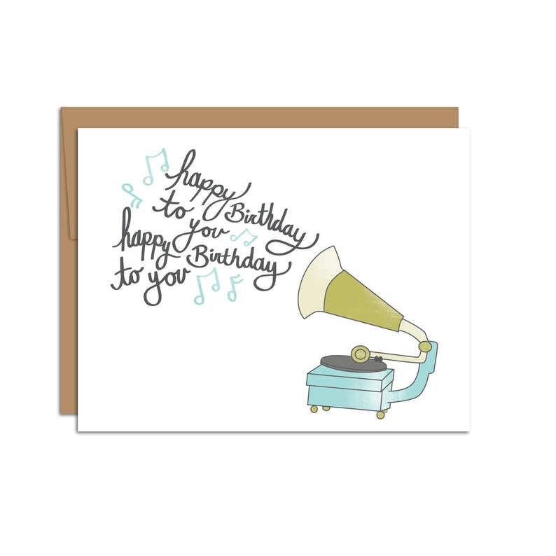 Happy Birthday Greeting Card Musical Phonograph Song Music