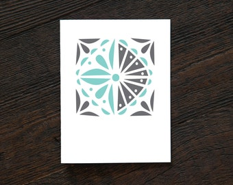 Greeting Card All Occassion Everyday - Jelly Jar - geometric, blue, gray, vintage inspired, bold, quilt, sew, masculine (GEO165)(EVD240)