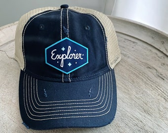 Vintage Distressed Hat with Explorer Patch