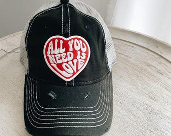 Vintage Distressed Hat with All You Need Is Love Patch