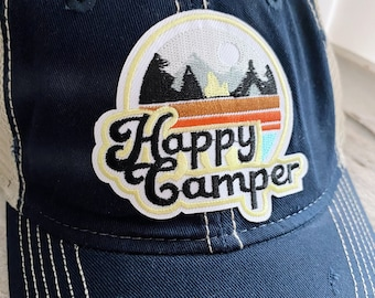 Happy Camper Vintage Distressed Hat with Patch