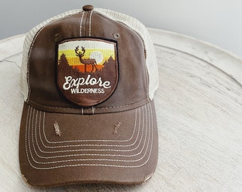 Vintage Distressed Hat with Explore Wilderness Patch