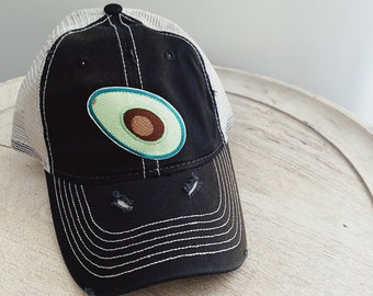 Vintage Distressed Hat with Avocado Patch