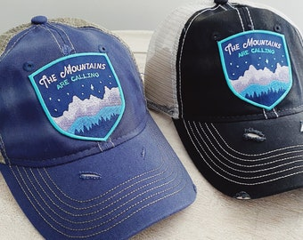 The Mountains Are Calling Vintage Distressed Hat with Patch