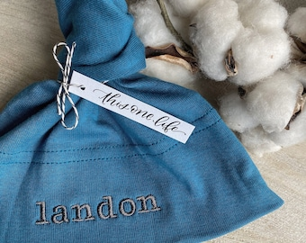 Organic Cotton Baby Knot Hat  -  American Apparel - You choose the NAME to be embroidered