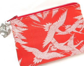 Upcycled Kimono Coin Purse / Zipper Pouch - One Thousand Cranes