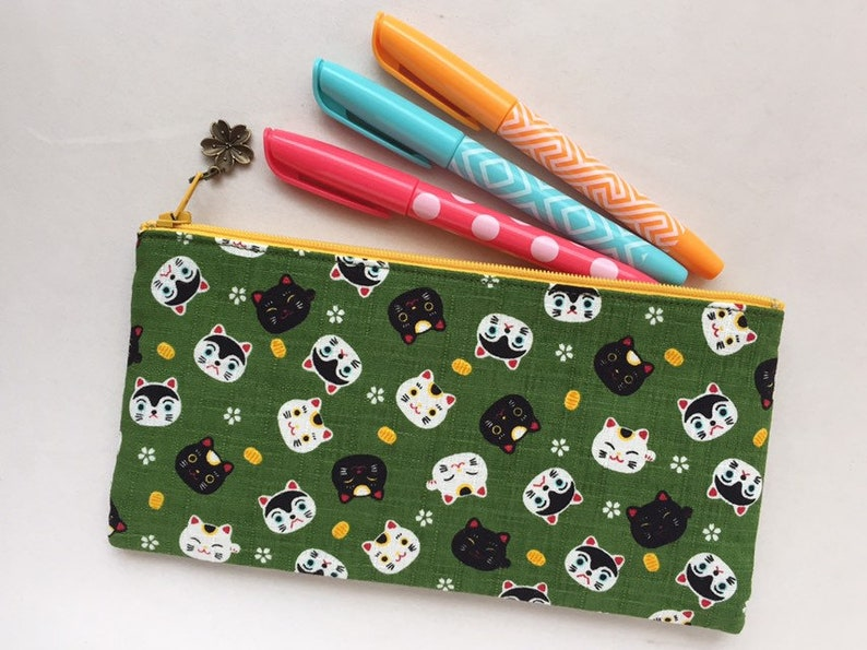 Matcha Green Maneki-neko /& Hariko-inu Zipper Pouch  Coin Purse or Pencil Case