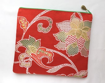 Fold Over Clutch made from vintage Obi - Peony