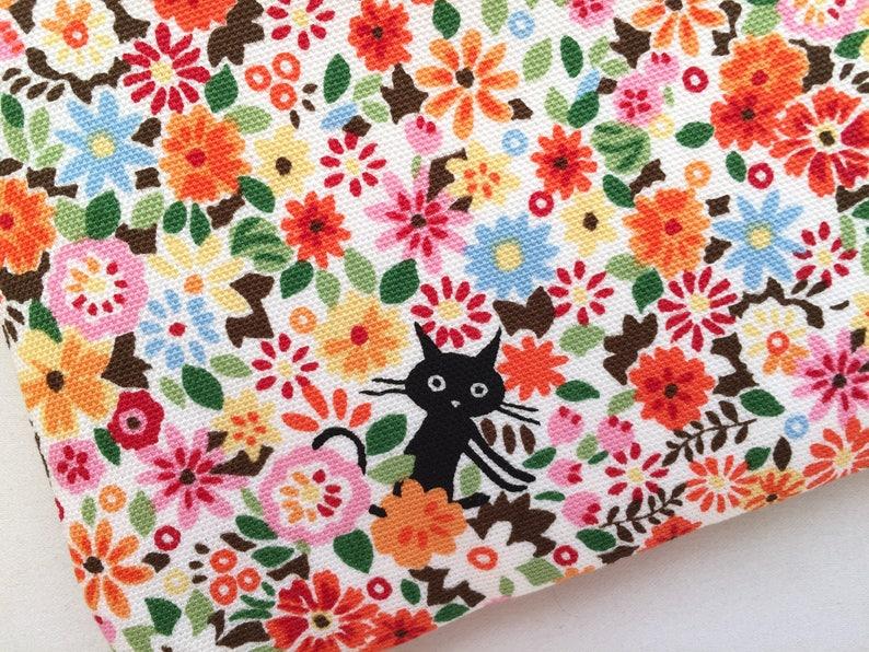 Orange Flowers Hide /& Seek Cats Pencil Case  Zipper Pouch