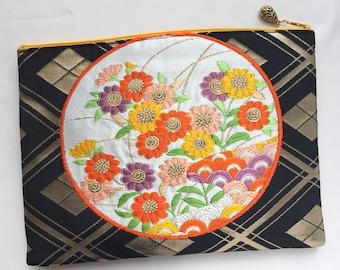Upcycled Vintage Obi Clutch Bag / Zipper Pouch - Daisy
