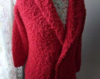 One-of-a-kind Snowflake Ultra Light Fashion Chunky Women Winter Coat Hand Knit Sharp Red Chunky Coat Knit Cardigan Will fit size Small to M