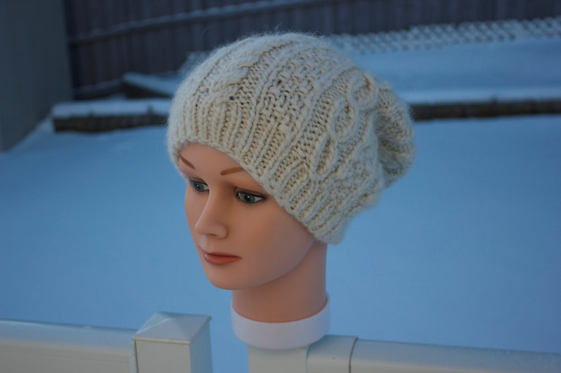 18cd9d7e29d Ready to ship Aran hat Alpaca Wool Hat Tan Knit Hat Slouchy