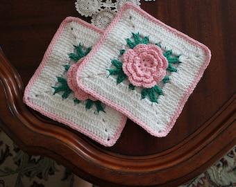 """100% Cotton Double Thick Handmade Crochet Kitchen Hot Pads, Crochet Pot Holders, 8x8"""" Housewarming Gift stocking, Housewarming/Kitchen Gift"""