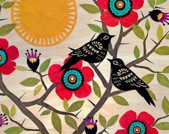Flowers Among The Thorns - 11 x 14 inch Cut Paper Art Print