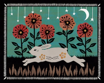 Springing Through The Field - 8 x 10 inch Cut Paper Art Print