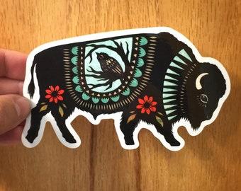 Bison and Bird Vinyl Sticker