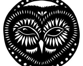 Owl - 8 x 8 inch Cut Paper Art Woodland Critters Animal Print