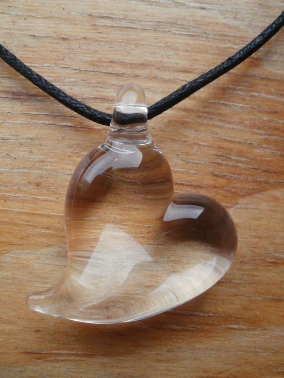 Handblown Glass Clear Heart Love Pendant Necklace Jewelry Etsy