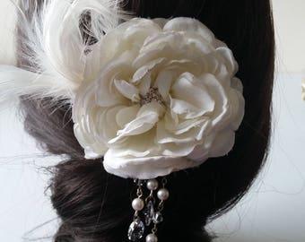 White Rose Hair Clip, Bridal Headpiece, Wedding Hair Flower, Veil Clip, Crystal Flower Hair Clip, Feathered Hair Clip