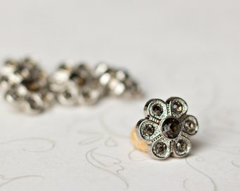 5 Smoke Rhinestone Buttons -  Smoke Flower Button - Christine Button - 14mm - Plastic Buttons - Acrylic Buttons
