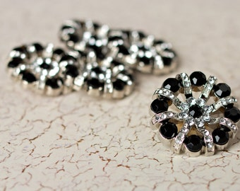 5 Rhinestone Buttons - Black/Clear Rhinestone Button - Lisa Button - 32mm - Plastic Buttons - Acrylic Buttons