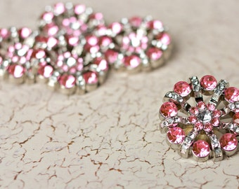 5 Rhinestone Buttons - Lt Pink/Clear Rhinestone Button - Lisa Button - 32mm - Plastic Buttons - Acrylic Buttons