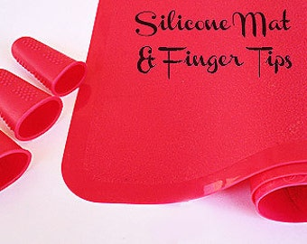 Silicone Finger tips, Finger tips AND Silicone Mat - Shocking Pink