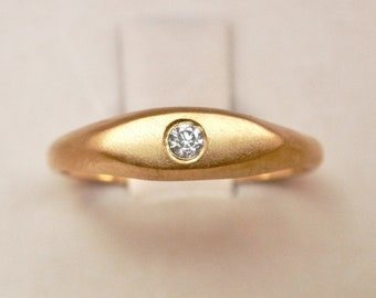 Signet Ring with Moissanite or Zircon in 14k Solid Yellow Rose White Gold or Sterling Silver Pinky Ring Valentines Gift for Her