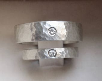 natural white sapphire hammered wedding rings for men and women his and hers flush set wedding bands handmade in solid sterling silver