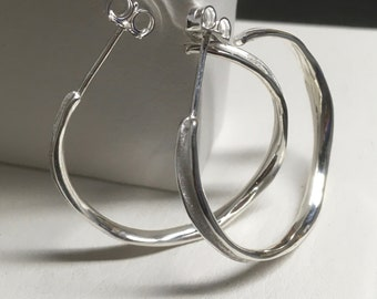 Sterling Silver Hoop Earrings Handmade Channel Medium Hoops Wavy Shaped Post Earrings Everyday Wear Lightweight Perfect Gift for Him and Her