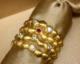 Red Ruby Gold Ring 14k Solid Gold Yellow Rose White Gold Wedding Ring Valentines Gift for Her