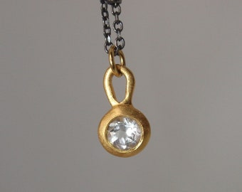 simple small 14k solid gold bezel necklace dainty solitaire valentines gift necklace round topaz diamond alternative charm delicate necklace