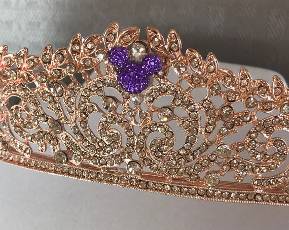 RESERVED for KAITLYN-Regal Tiara-Rose Gold-Purple Mouse Silhouette-Disney Inspired Wedding