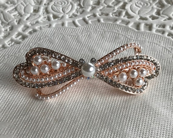 Disney Inspired Barrette-Bachelorette Party-Dapper Days-Rhinestone Pearl Hair Accessory-Bridal Shower Gift-Engagement Party