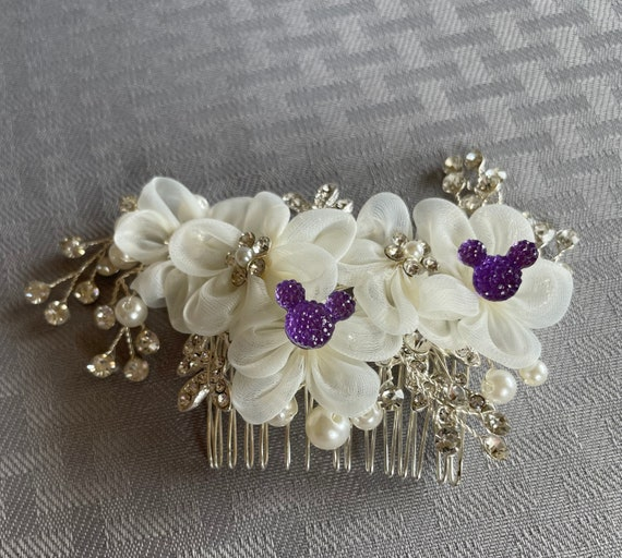 Mickey Wedding Flower Comb-Disney Inspired Purple Mouse-Hidden Mickey Comb-Ivory and Silver
