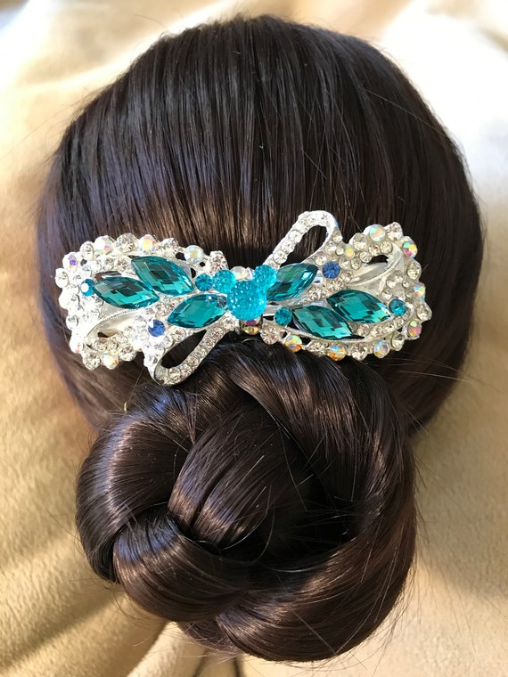 Disney Inspired Wedding-Dapper Days-Rhinestone Hair Accessory-Wedding Rehearsal-Bridal Shower Gift-Engagement Party-Aqua Wedding Barrette