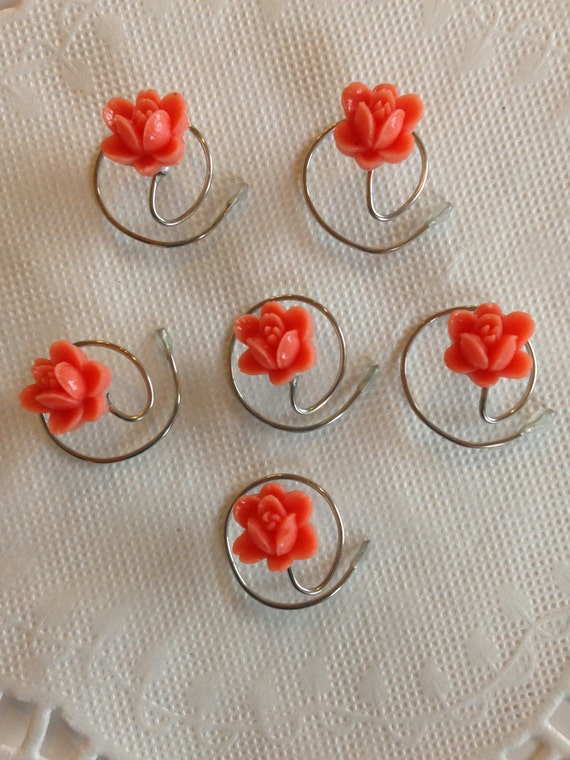 Bridesmaids Hair Swirls Spin Pins Spirals in Coral Boutique Flowers (Qty 6)