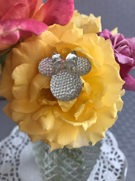 Minnie Mouse Flower Pins-Disney Wedding Bouquet Flower Picks-Mouse Ears  Bouquet Picks Crystal Clear