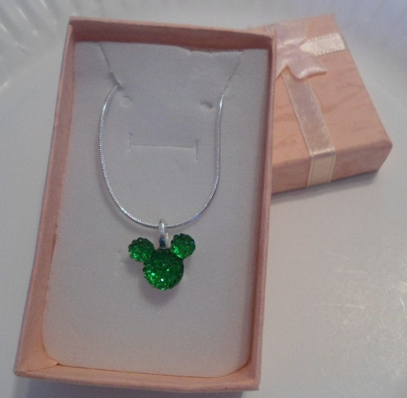 MOUSE EARS Necklace for Wedding Party in Dazzling Green Acrylic