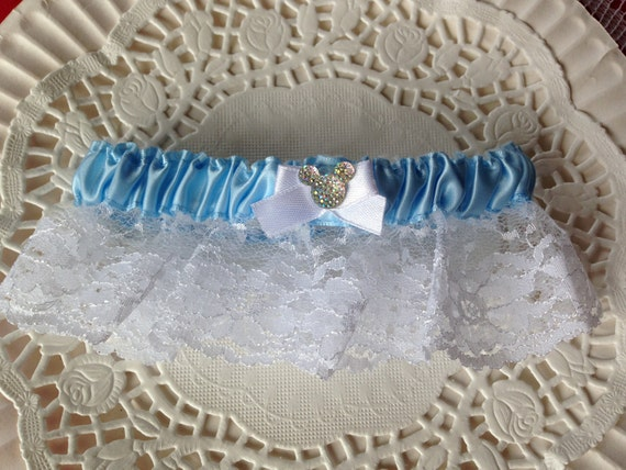 MOUSE EARS Wedding Garter Bridal Garter Something Blue Shower Gift Disney Inspired